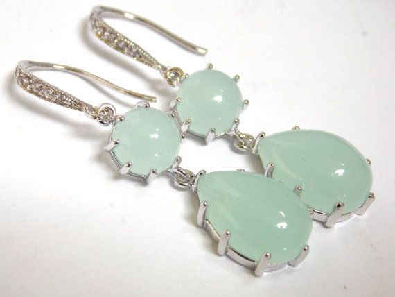 Mint Earrings Glass Earrings Aqua Earrings Light by mlejewelry, $33.00