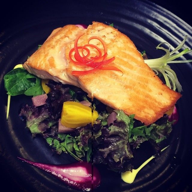 Today's lunch special created by Chef Dermot:  Grilled Salmon Fillet with summer beetroot salad #healthyoption #dermosdailydish