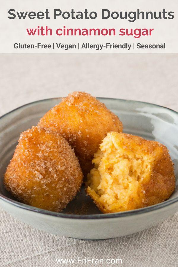 Sweet Potato Doughnuts With Cinnamon Sugar are divine! Light and crispy and so easy to make. #GlutenFree #Vegan #AllergyFriendly #Seasonal #CoconutFree #FriFran #GlutenFreeVegan #SweetPotato #SweetPotatoDoughnuts #Doughnuts #Donuts
