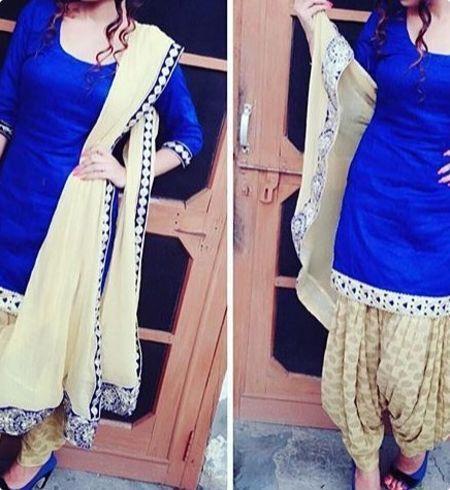 Shop online for Beautifull royal blue punjabi salwar suit with golden salwar at best price. Buy Beautifull royal blue punjabi salwar suit with golden salwar and get 10% Discount by nivetas on Kraftly.