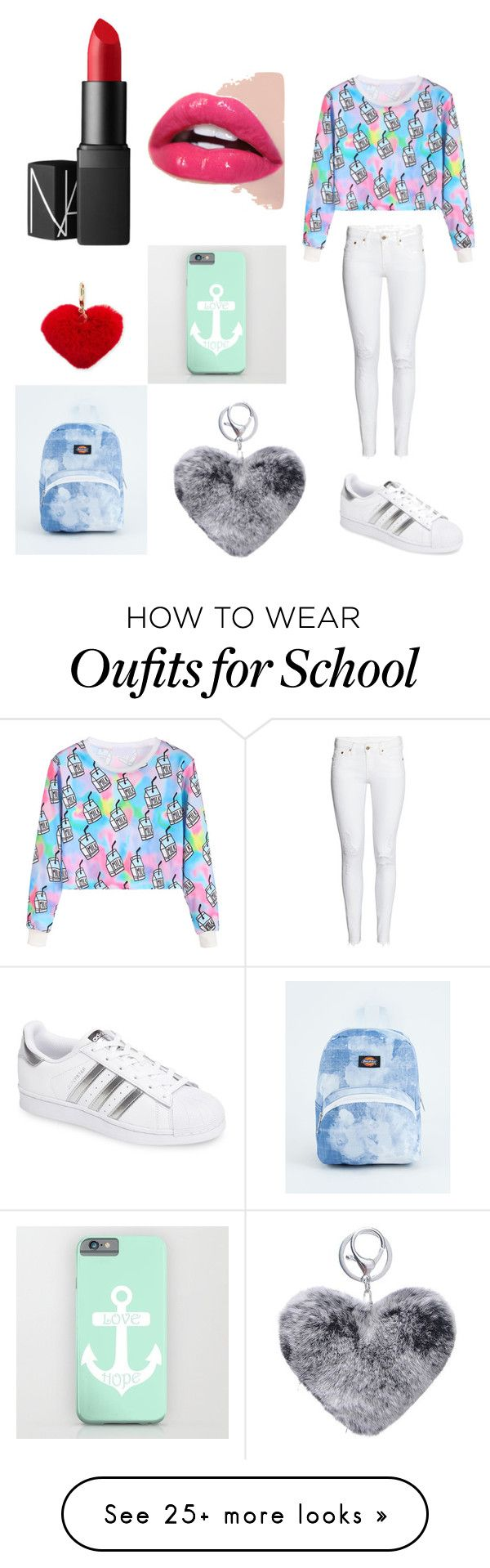 """school theme "" by dinkapnh on Polyvore featuring WithChic, adidas, NARS Cosmetics, Dickies and Rebecca Minkoff"