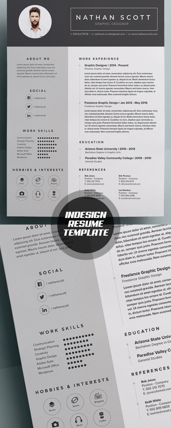 modern indesign resume template  cvtemplate