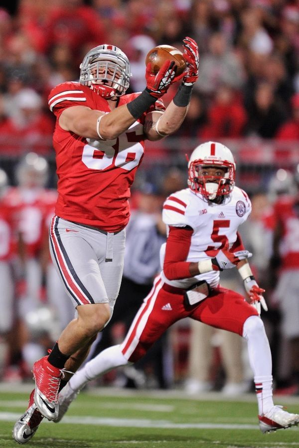10/6/12: 35 yard pass reception by #86 Jeff Heuerman. We later scored on that ball and CRUSHED Nebraska 63-38 in the Shoe. Go Bucks!