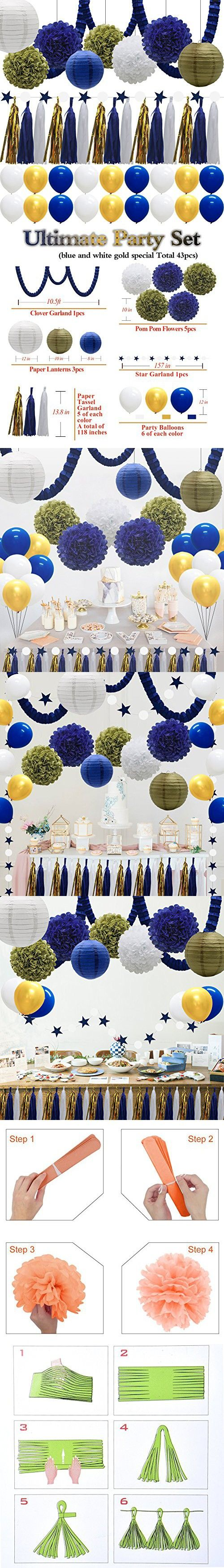 43pcs Paper Lanterns Tissue Flowers Pom Poms Party Decorations Tassel Garland Banner Clover Garland Balloons for Bridal Shower Graduation Bachelorette Celebrate First Birthday (Navy Blue, Gold)