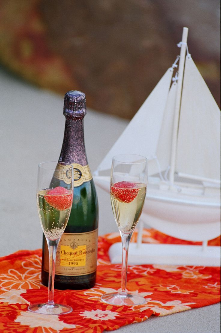 Champagne on a beach in St Francis, South Africa