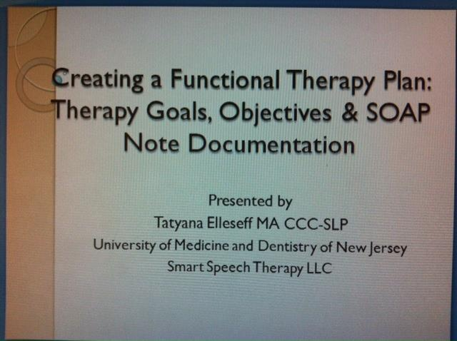 New Giveaway: Creating a Functional Therapy Plan Lecture Slides-Therapy Goals, Objectives & SOAP Note Documentation From Smart Speech Therapy LLC. Pinned by SOS Inc. Resources. Follow all our boards at pinterest.com/sostherapy for therapy resources.