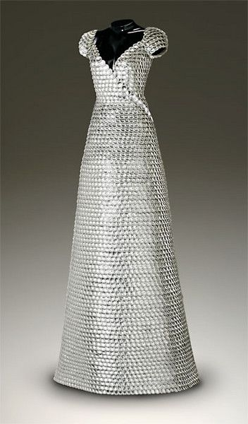 "John Petrey ~ ""Gwenyth"" Dress sculpture of Silver Bottle Caps 72""x27""x29""  