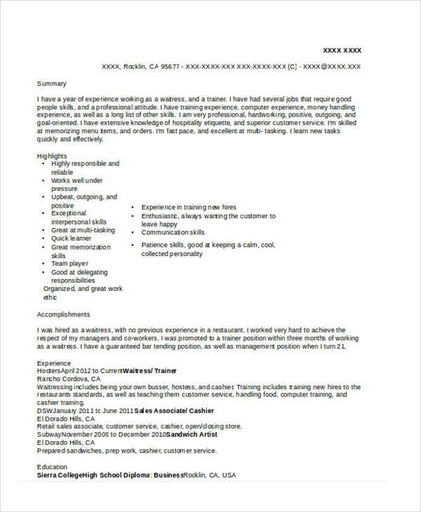 10 Waitress Resume Templates Free Printable Word Pdf Resume Template Free Resume Templates How To Memorize Things