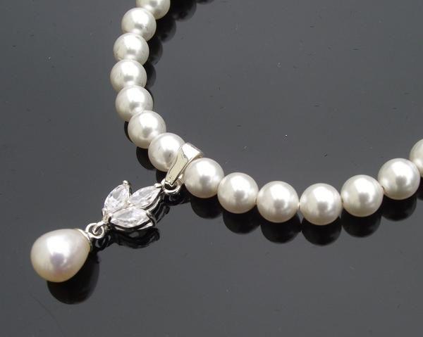 Wedding Bracelets - Flower Style Crystal & Teardrop Pearl Bracelet, Elena