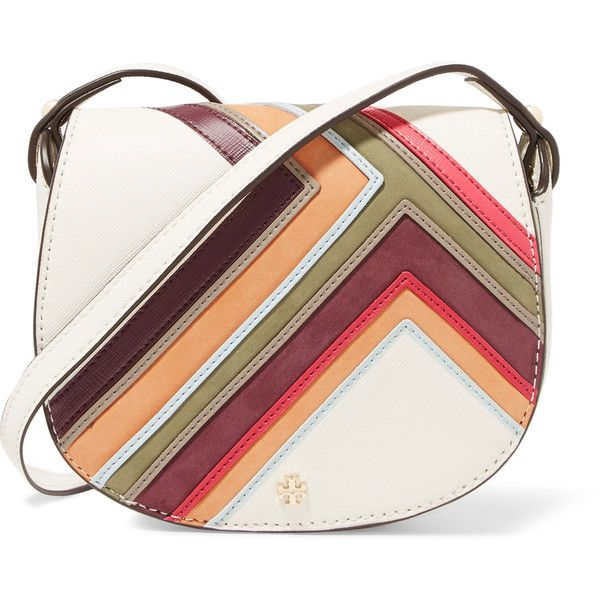 Tory Burch Robinson nubuck-paneled textured-leather mini shoulder bag ($255) ❤ liked on Polyvore featuring bags, handbags, shoulder bags, multi, multi colored handbags, shoulder hand bags, mini handbags, miniature purse and multi coloured handbags