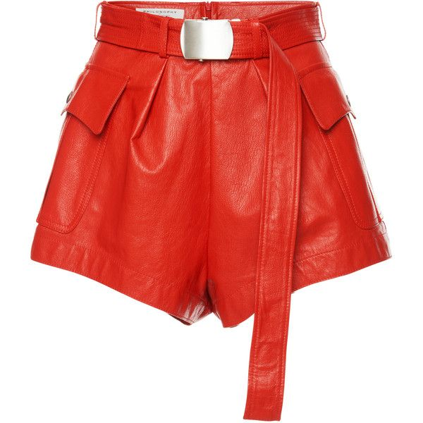 Philosophy di Lorenzo Serafini Leather Short ($650) ❤ liked on Polyvore featuring shorts, philosophy di lorenzo, red, red shorts, high waisted short shorts, high-rise shorts, leather shorts and highwaist shorts
