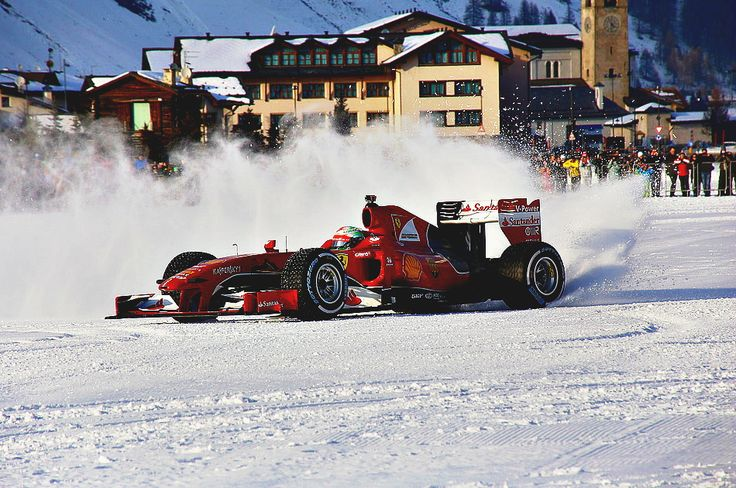 After Max Verstappen, Giancarlo Fisichella drove on the snow