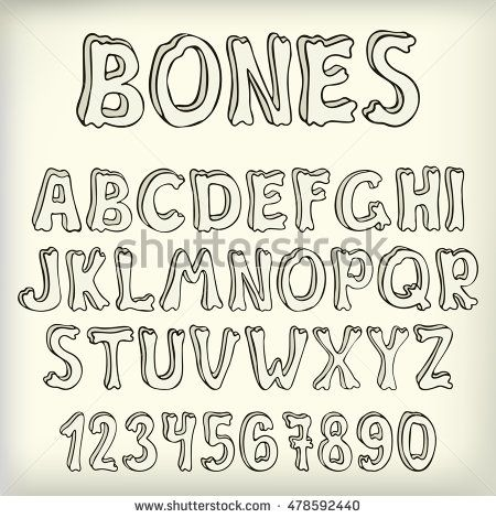 Hand drawn vector letters set, creative halloween font. Doodle abc on…