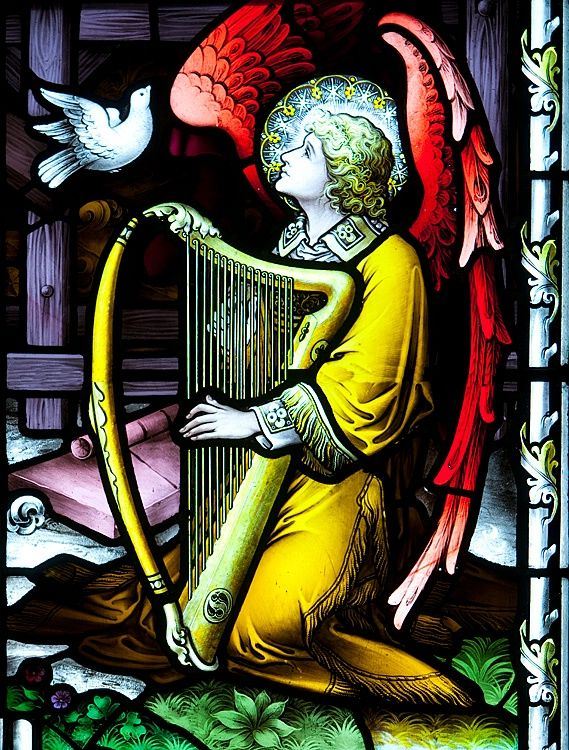 Angel playing a harp, detail of stained glass, Sacred Heart church, Roscommon, County Roscommon, Ireland #travel