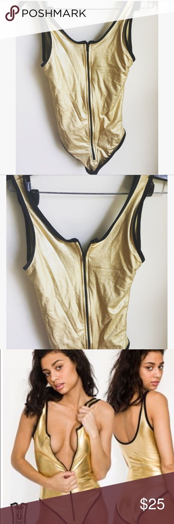 American Apparel zipper front gold bodysuit Gold and black zip-up bodysuit that also doubles as a swimsuit (the material is perfect for it!) Like-new, only worn once American Apparel Dresses