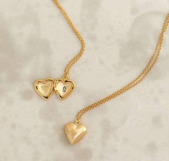 Heart Locket Personalized Locket Gold Heart Locket Locket