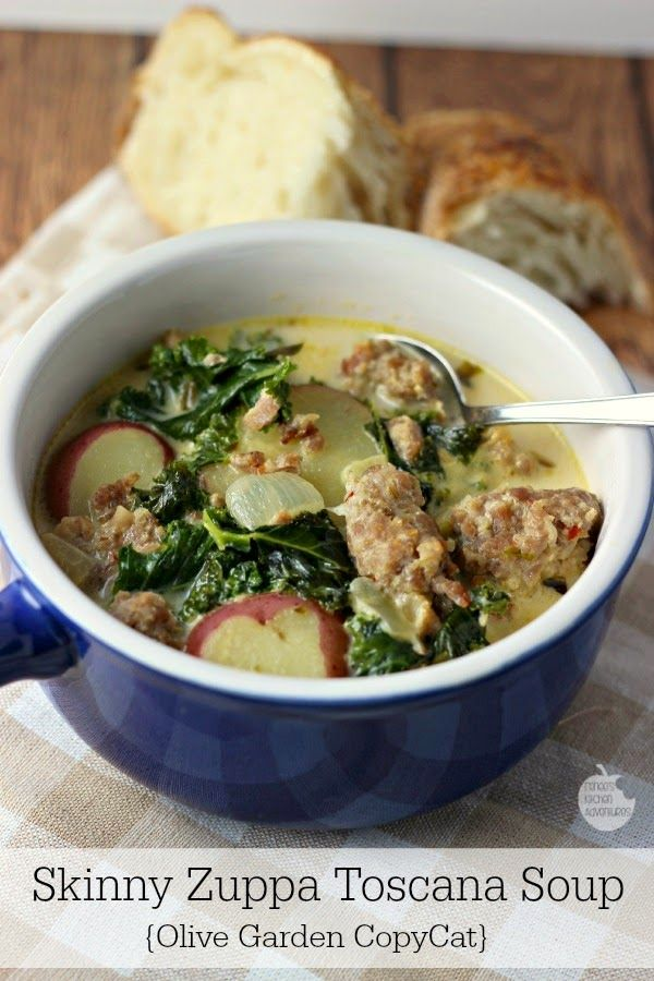 Skinny Zuppa Toscana Soup | Renee's Kitchen Adventures: A lighter version of the Olive Garden original