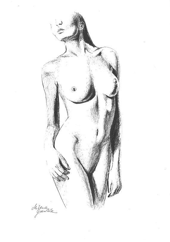 Female Nude 9 -  Fine Art Print after an original drawing by Milena Gawlik, Black & White, sensual nude