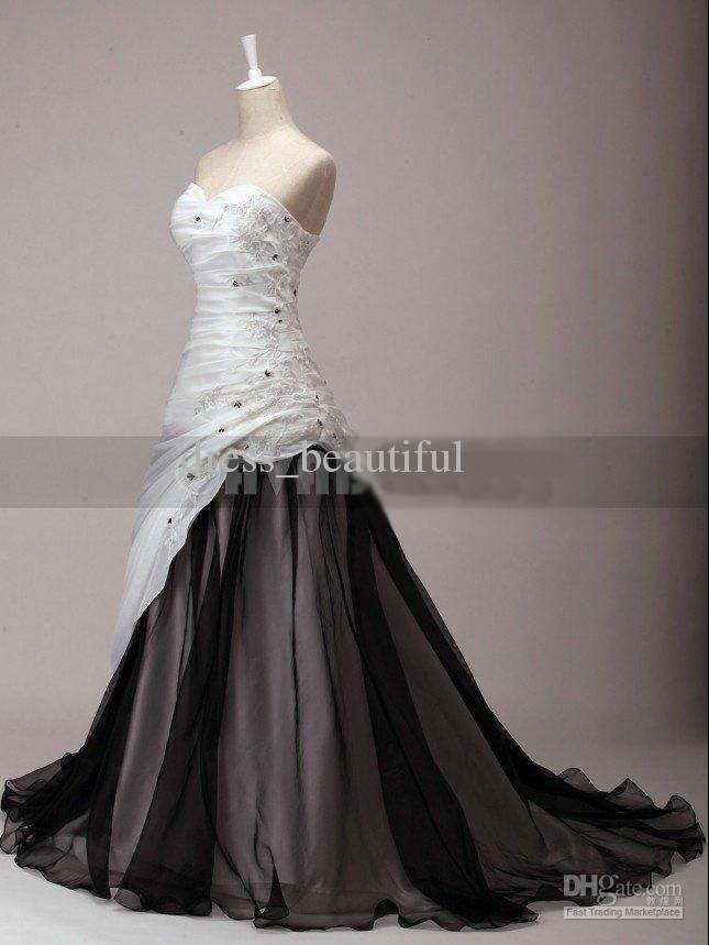 Newest Black And White Dress Sweetheart Chapel Train Organza Wine Taffeta Embroidery Wedding Dresses