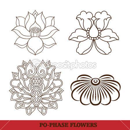中国的虚拟宝相花一套: 莲花、 牡丹皮 — 图库插图 #8933140