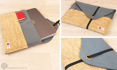 Notebook Tasche Laptop selber nähen Filz Kork SnapPap Leder DIY basteln kostenlos günstig Geschenk Mann Jungs Anleitung Tutorial Schnittmuster Tablet I-Pad Bag