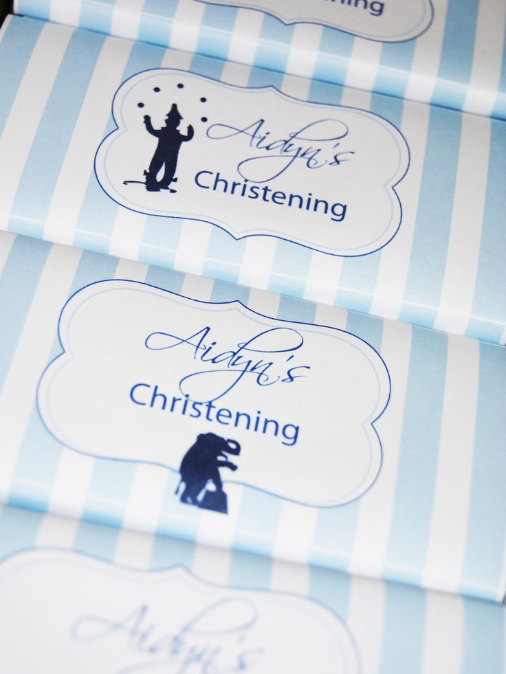 Vintage circus theme Christening, Personalised chocolate favours designed by COCO AVENUE