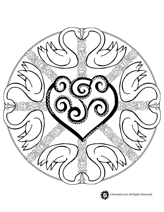 Animal Mandala Coloring Pages Swan Mandala Coloring Page