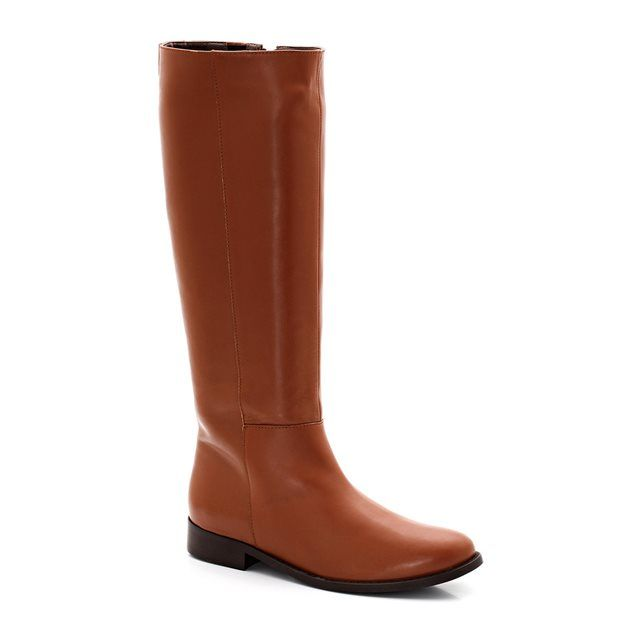 Zip-Up 34cm Calf Width Leather Boots
