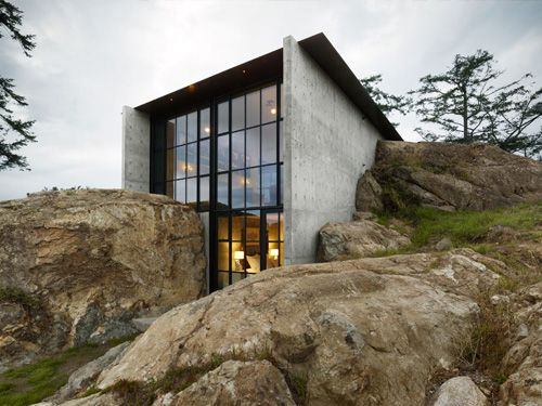 The Pierre Rock House San Juan Islands, Washington Literally nestled in the
