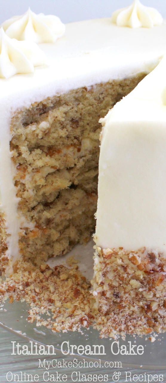The BEST Italian Cream Cake Recipe from Scratch by MyCakeSchool.com! Super moist and flavorful!