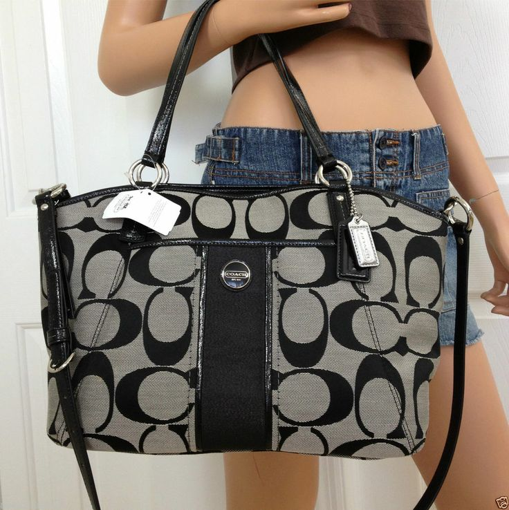 black and gray coach bag 7o03  NWT COACH BLACK GRAY SIGNATURE STRIPE TOTE CROSSBODY SHOULDER BAG PURSE