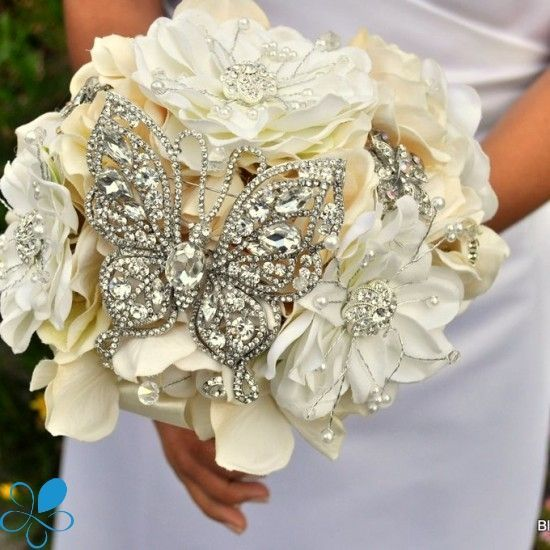 crystal butterfly wedding bouquets | Crystal Butterfly #Wedding Bouquet - Blue Petyl Bouquets