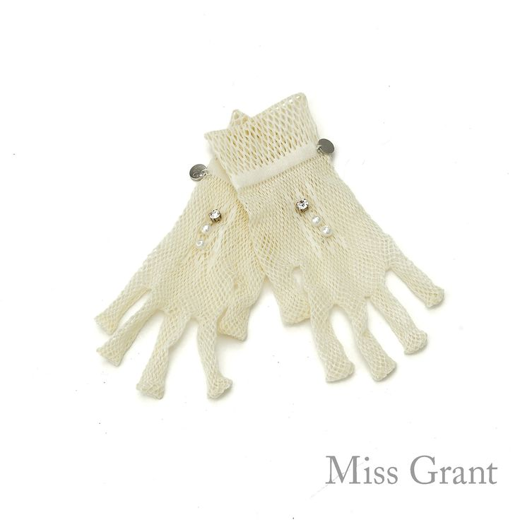 Miss Grant udsalg børnetøj Net handsker i off-white tilbud børnetøj