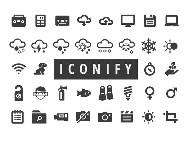 The Iconify Collection is a set of over 650 free glyph icons designed and released by Scott Lewis designed on a 32 x 32 pixel grid.