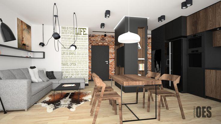 nowoczesny salon, drewniane meble, nowoczesna kuchnia, czarne akcenty, cegła we wnętrzu