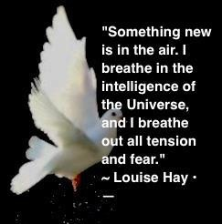 """""""Something new is in the air. I breathe in the intelligence of the Universe, and I breathe out all tension and fear."""" ~ Louise Hay"""