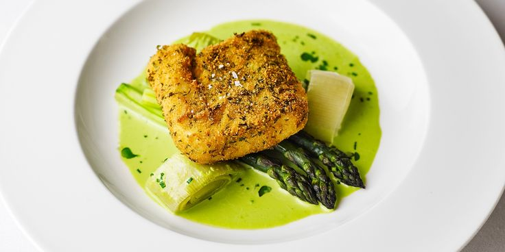 A fantastic breaded fish recipe from Pete Biggs, this breaded fish dish with fried and baked hake showcases spring ingredients with grilled asparagus and a delicious wild garlic sauce.