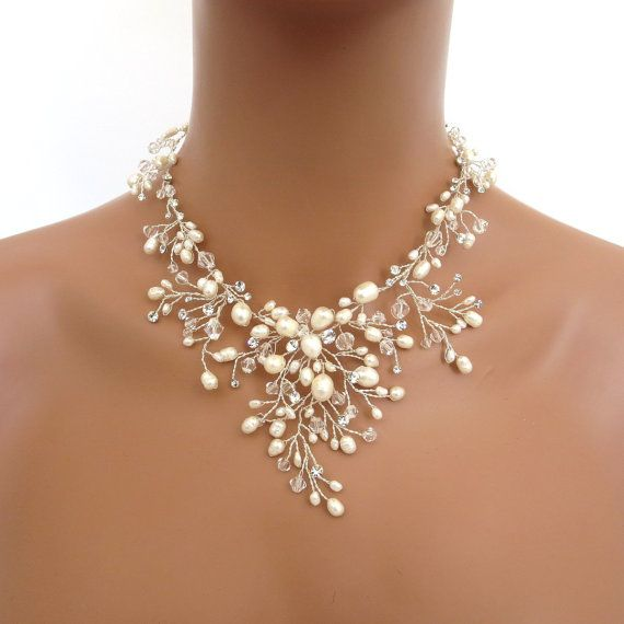 Bridal freshwater pearl necklace set, Wedding jewelry set, Swarovski crystal necklace and earrings