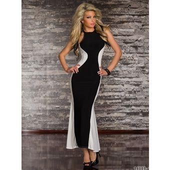Vestito lungo bianco e nero