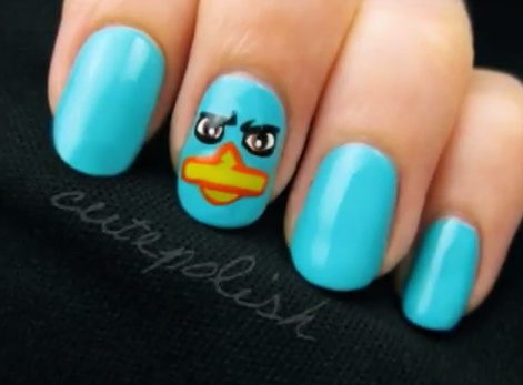 Perry the Platypus - Nail Design Tutorial: Nailart, Nail Designs, Platypus Nails, Beauty, Perry Nails, Nail Art, Perry The Platypus