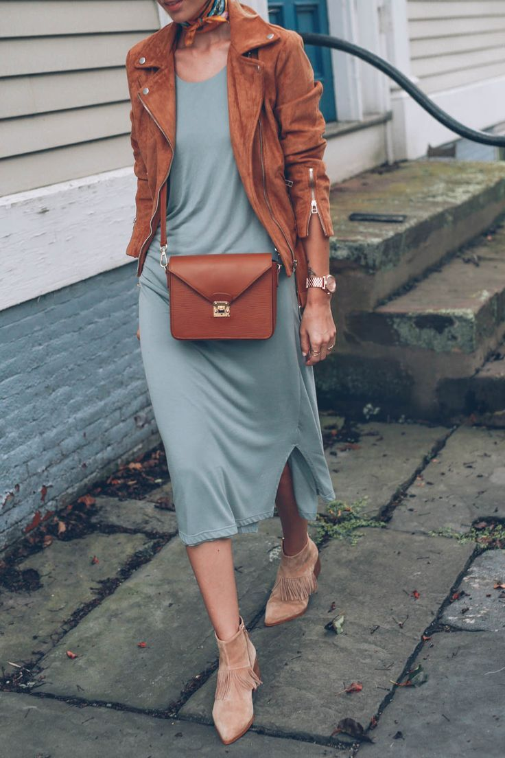 Tan suede moto jacket, midi dress and ankle boots