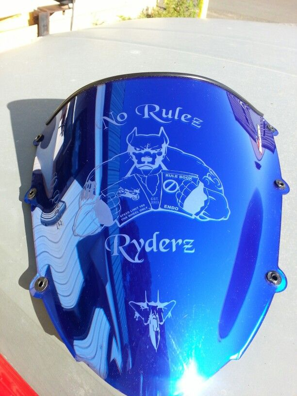 Motorcycle club logo etched/engraved on windscreen make your bike stand out with what ever you want from mild to wild and anything in between