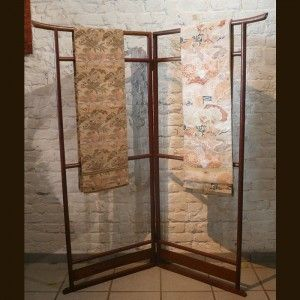 kimono stand - could be hung with a beautiful fabric for a backdrop