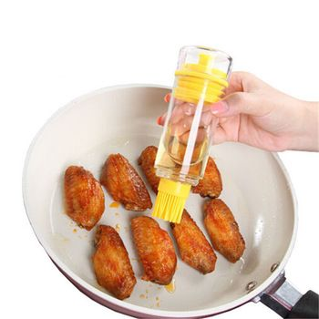 2-in-1 BBQ brush oil bottle food grade PP barbecue cake silicone brush separated oil jar bakeware tool free shipping Q-235