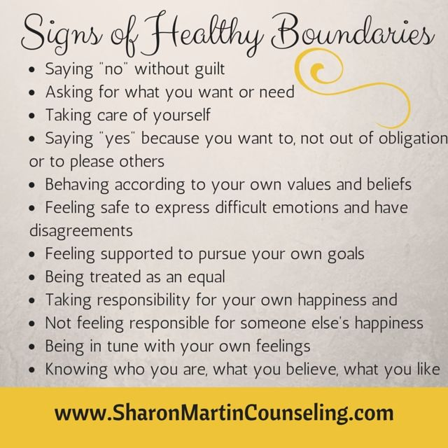 Signs of Healthy Boundaries #boundaries Article at www. SharonMartinCounseling.com #codependency #relationships