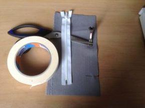 Verwenden Sie einen Reißverschluss mit Klebeband und Reißverschlussfuß
