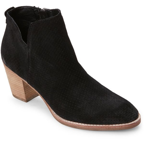 Dolce Vita Black Janae Perforated Cuban Heel Ankle Booties (7.740 ISK) ❤ liked on Polyvore featuring shoes, boots, ankle booties, black, side zip boots, black ankle booties, high heel booties, side zipper boots and faux-fur boots