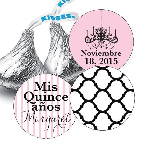 Mis Quince Anos Hershey Kiss Stickers for Party Favors - Chandelier, Quatrefoil #Unbranded #BirthdayChild