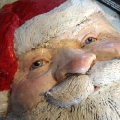 Paper Mache Santa - a two-post tutorial for a Santa face, made with paper mache clay.