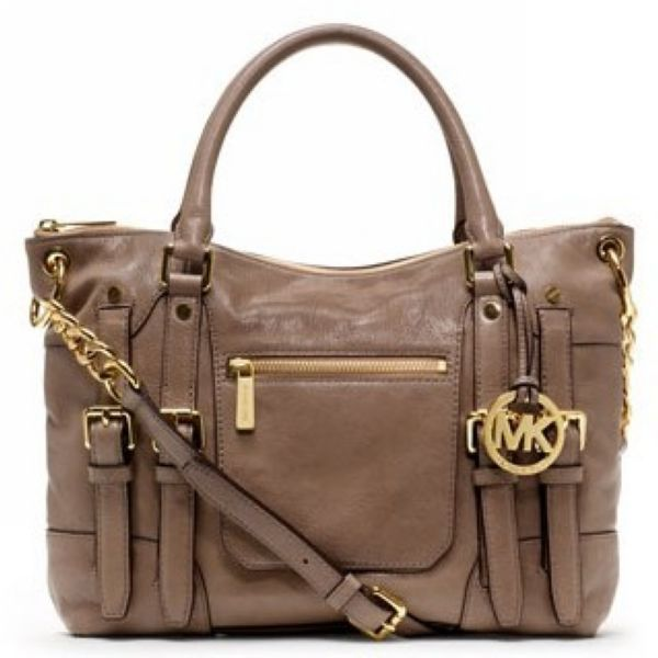 Michael Kors Leigh Large Khaki Satchels Attracts Your Attention At First Sight On Our Store!